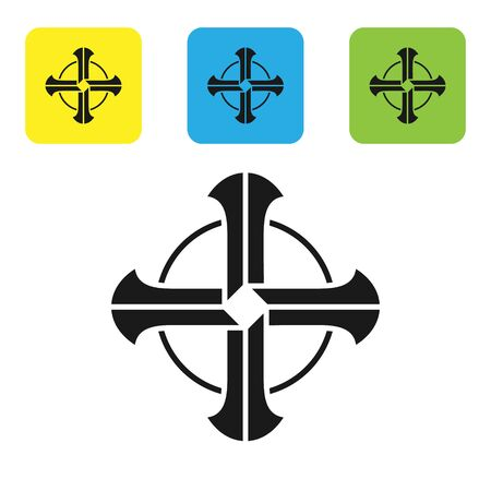 Black Celtic cross icon isolated on white background. Happy Saint Patricks day. Set icons colorful square buttons. Vector Illustration Ilustrace