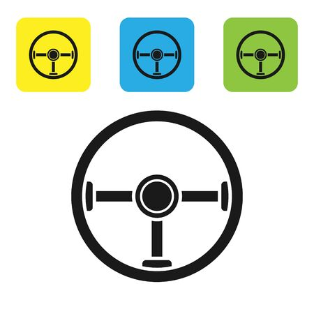 Black Steering wheel icon isolated on white background. Car wheel icon. Set icons colorful square buttons. Vector Illustration