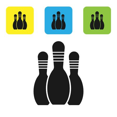 Black Bowling pin icon isolated on white background. Set icons colorful square buttons. Vector Illustration