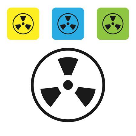 Black Radioactive icon isolated on white background. Radioactive toxic symbol. Radiation Hazard sign. Set icons colorful square buttons. Vector Illustration Иллюстрация