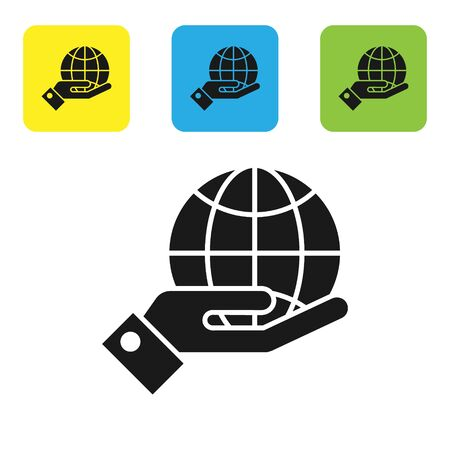 Black Human hands holding Earth globe icon isolated on white background. Save earth concept. Set icons colorful square buttons. Vector Illustration