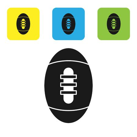 Black American Football ball icon isolated on white background. Rugby ball icon. Team sport game symbol. Set icons colorful square buttons. Vector Illustration