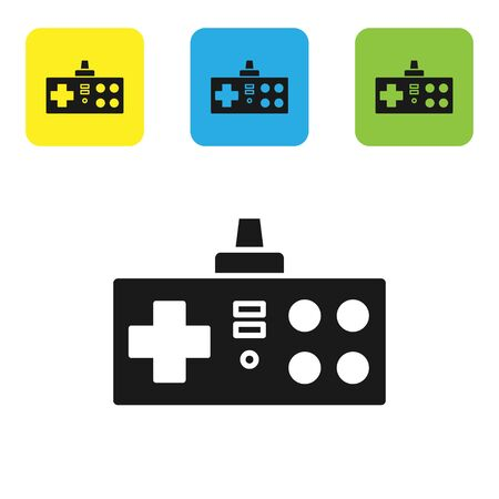 Black Gamepad icon isolated on white background. Game controller. Set icons colorful square buttons. Vector Illustration Ilustração