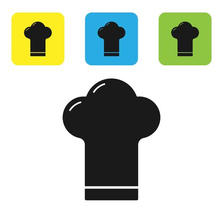 Black Chef hat icon isolated on white background. Cooking symbol. Cooks hat. Set icons colorful square buttons. Vector Illustration Archivio Fotografico - 133711006