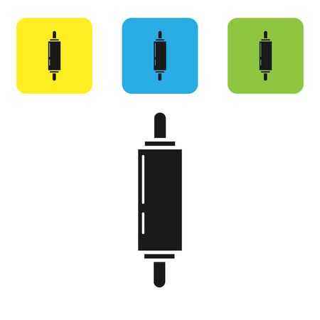 Black Rolling pin icon isolated on white background. Set icons colorful square buttons. Vector Illustration