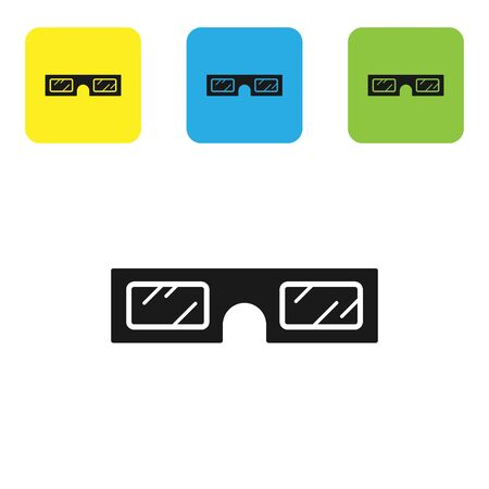 Black 3D cinema glasses icon isolated on white background. Set icons colorful square buttons. Vector Illustration