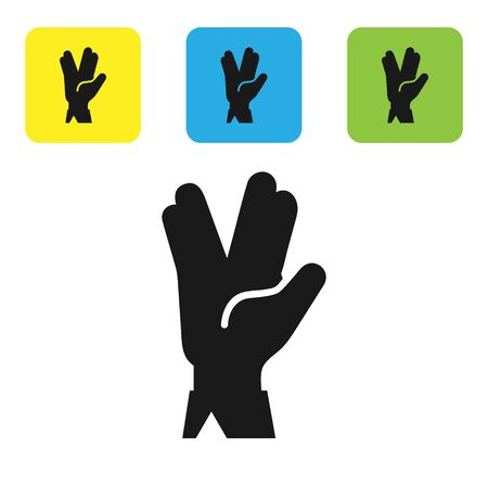 Black Vulcan salute icon isolated on white background. Hand with vulcan greet. Spock symbol. Set icons colorful square buttons. Vector Illustration