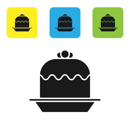 Black Cake icon isolated on white background. Happy Birthday. Set icons colorful square buttons. Vector Illustration