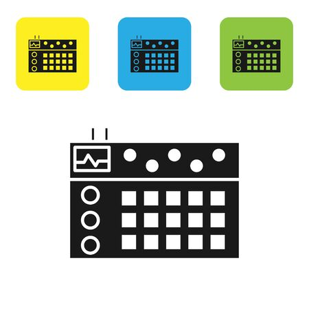 Black Drum machine icon isolated on white background. Musical equipment. Set icons colorful square buttons. Vector Illustration Ilustrace