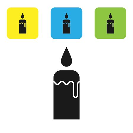Black Burning candle in candlestick icon isolated on white background. Cylindrical candle stick with burning flame. Set icons colorful square buttons. Vector Illustration Çizim