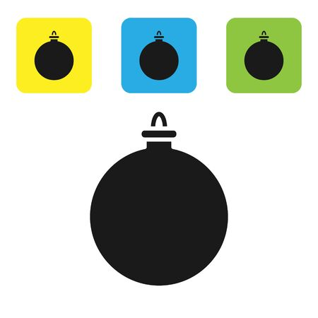 Black Christmas ball icon isolated on white background. Merry Christmas and Happy New Year. Set icons colorful square buttons. Vector Illustration
