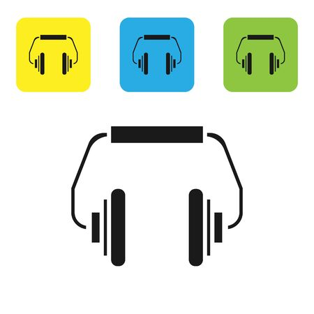 Black Headphones icon isolated on white background. Earphones. Concept for listening to music, service, communication and operator. Set icons colorful square buttons. Vector Illustration