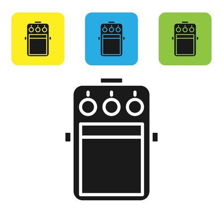 Black Guitar pedal icon isolated on white background. Musical equipment. Set icons colorful square buttons. Vector Illustration Ilustrace
