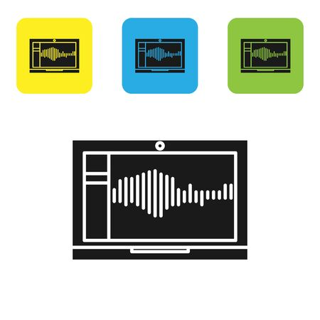 Black Sound or audio recorder or editor software on laptop icon isolated on white background. Set icons colorful square buttons. Vector Illustration