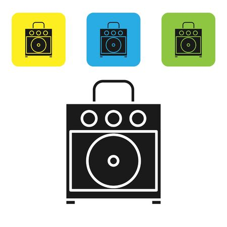Black Guitar amplifier icon isolated on white background. Musical instrument. Set icons colorful square buttons. Vector Illustration