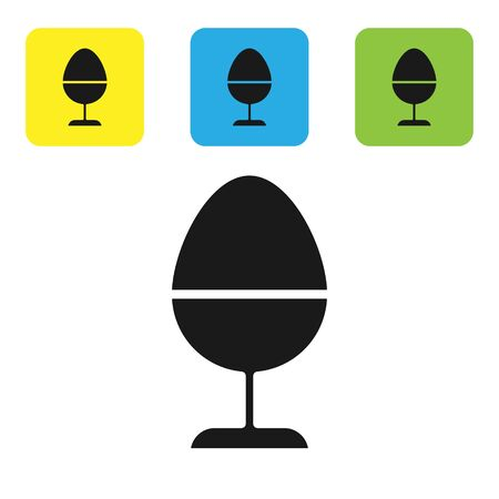 Black Chicken egg on a stand icon isolated on white background. Set icons colorful square buttons. Vector Illustration