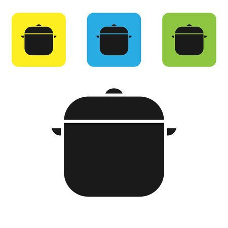 Black Cooking pot icon isolated on white background. Boil or stew food symbol. Set icons colorful square buttons. Vector Illustration Illustration