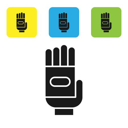 Black Garden gloves icon isolated on white background. Rubber gauntlets sign. Farming hand protection, gloves safety. Set icons colorful square buttons. Vector Illustration