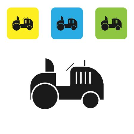 Black Tractor icon isolated on white background. Set icons colorful square buttons. Vector Illustration