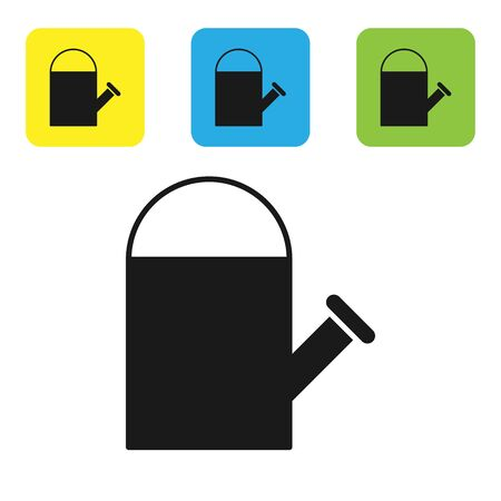 Black Watering can icon isolated on white background. Irrigation symbol. Set icons colorful square buttons. Vector Illustration 向量圖像