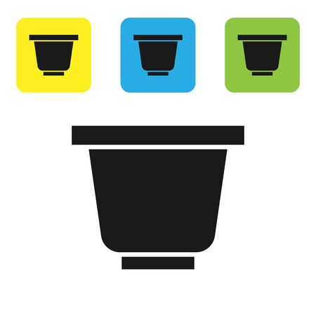 Black Flower pot icon isolated on white background. Set icons colorful square buttons. Vector Illustration 向量圖像