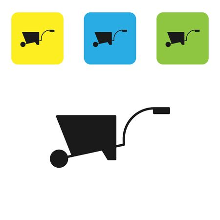 Black Wheelbarrow icon isolated on white background. Tool equipment. Agriculture cart wheel farm. Set icons colorful square buttons. Vector Illustration