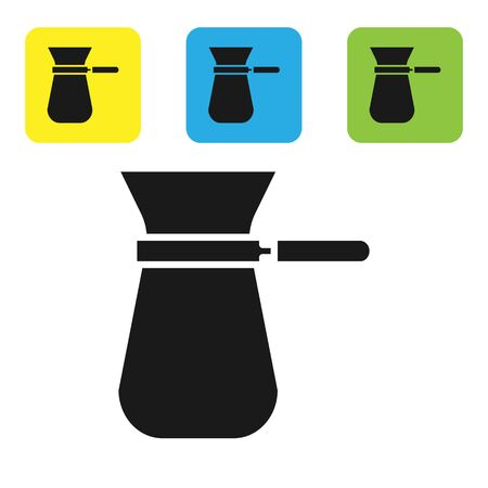 Black Coffee turk icon isolated on white background. Set icons colorful square buttons. Vector Illustration
