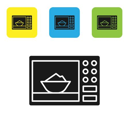 Black Microwave oven icon isolated on white background. Home appliances icon. Set icons colorful square buttons. Vector Illustration