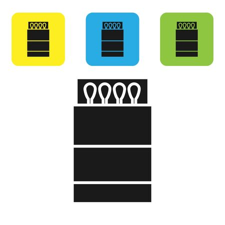 Black Open matchbox and matches icon isolated on white background. Set icons colorful square buttons. Vector Illustration