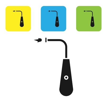 Black Long electric lighter icon isolated on white background. Set icons colorful square buttons. Vector Illustration
