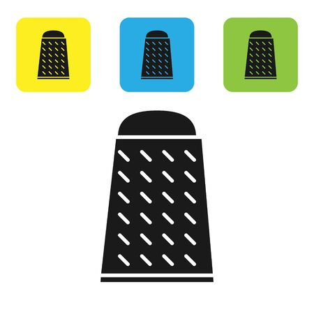 Black Grater icon isolated on white background. Kitchen symbol. Cooking utensil. Cutlery sign. Set icons colorful square buttons. Vector Illustration