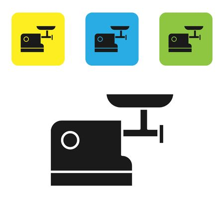 Black Kitchen meat grinder icon isolated on white background. Set icons colorful square buttons. Vector Illustration