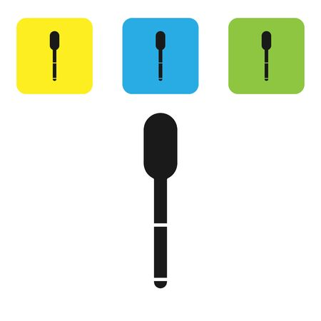 Black Spoon icon isolated on white background. Cooking utensil. Cutlery sign. Set icons colorful square buttons. Vector Illustration Illusztráció