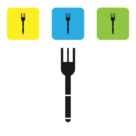 Black Fork icon isolated on white background. Cutlery symbol. Set icons colorful square buttons. Vector Illustration Illusztráció