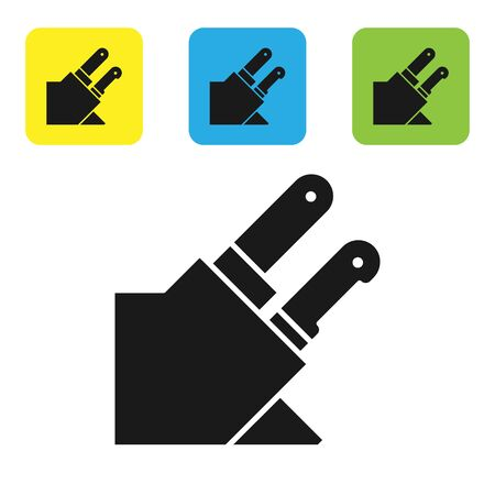 Black Knife icon isolated on white background. Cutlery symbol. Set icons colorful square buttons. Vector Illustration Illusztráció