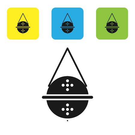 Black Ball tea strainer icon isolated on white background. Set icons colorful square buttons. Vector Illustration Ilustrace