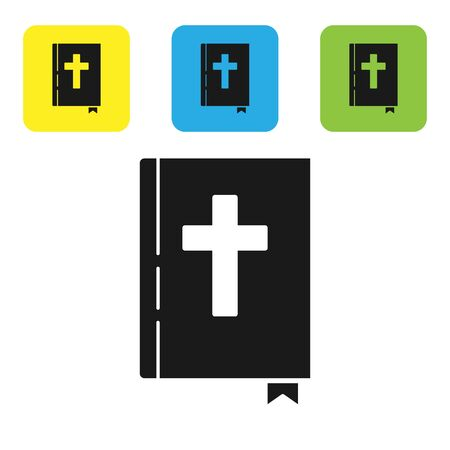 Black Holy bible book icon isolated on white background. Set icons colorful square buttons. Vector Illustration