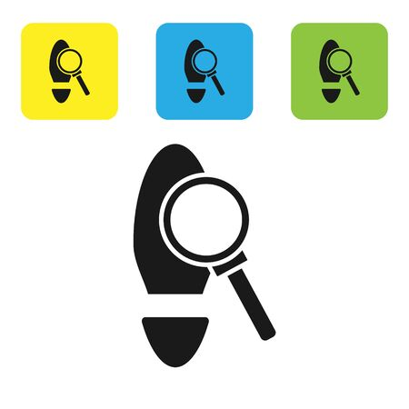 Black Magnifying glass with footsteps icon isolated on white background. Detective is investigating. To follow in the footsteps. Set icons colorful square buttons. Vector Illustration