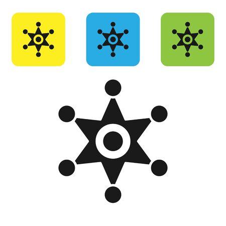 Black Hexagram sheriff icon isolated on white background. Police badge icon. Set icons colorful square buttons. Vector Illustration Çizim