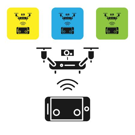 Black Remote aerial drone with a camera taking photography or video recording icon isolated on white background. Set icons colorful square buttons. Vector Illustration Çizim