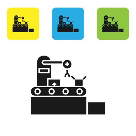 Black Factory conveyor system belt with cardboard boxes engineering machine icon isolated on white background. Robot industry concept. Set icons colorful square buttons. Vector Illustration
