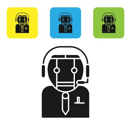 Black Worker robot icon isolated on white background. Set icons colorful square buttons. Vector Illustration 向量圖像