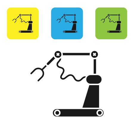 Black Industrial machine robotic robot arm hand factory icon isolated on white background. Industrial robot manipulator. Set icons colorful square buttons. Vector Illustration