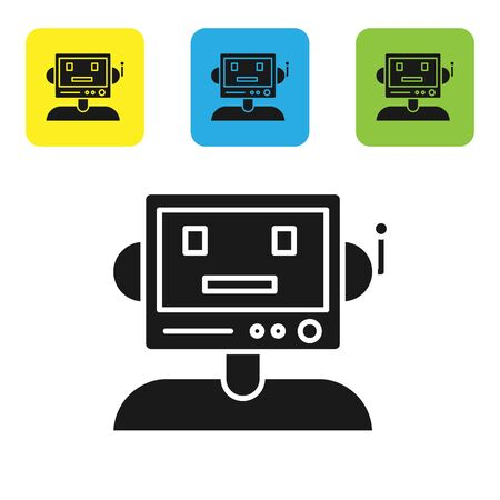 Black Robot icon isolated on white background. Set icons colorful square buttons. Vector Illustration 向量圖像