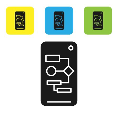 Black Algorithm icon isolated on white background. Algorithm symbol design from Artificial Intelligence collection. Set icons colorful square buttons. Vector Illustration