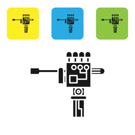 Black Mechanical robot hand and screwdriver tool icon isolated on white background. Robotic arm symbol. Technological concept. Set icons colorful square buttons. Vector Illustration