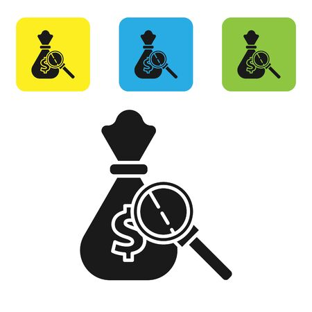Black Money bag and magnifying glass icon isolated on white background. Dollar or USD symbol. Cash Banking currency sign. Set icons colorful square buttons. Vector Illustration Çizim