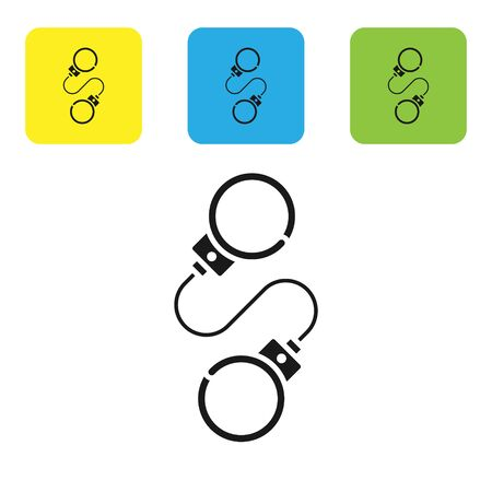 Black Handcuffs icon isolated on white background. Set icons colorful square buttons. Vector Illustration