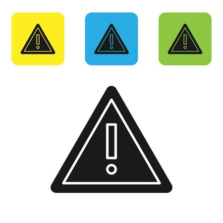 Black Exclamation mark in triangle icon isolated on white background. Hazard warning sign, careful, attention, danger warning important sign. Set icons colorful square buttons. Vector Illustration