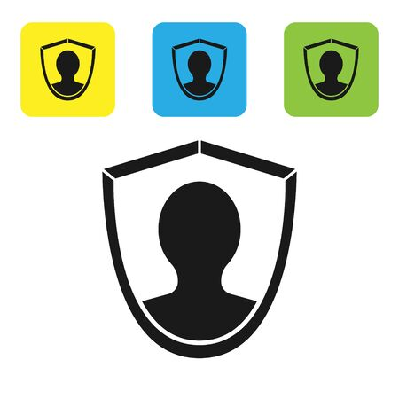 Black User protection icon isolated on white background. Secure user login, password protected, personal data protection, authentication. Set icons colorful square buttons. Vector Illustration